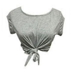 NWT! 🔥 Fitted T-Shirt Knotted Gray Crop Top